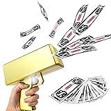 KWYZ Golden Money Guns Shooter, Make it Rain Money Gun Paper Playing Spray Money Toy Gun, Handheld Spray Cash Gun for Game Movies Party Supplies with 100 Pcs Prop Money