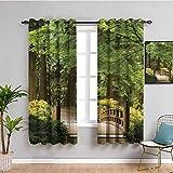 Just Contempo - Tende oscuranti per camera da letto, ponte in legno su un laghetto in giardino, calma in ombra degli alberi, serenità nella natura, mantenimento del buon sonno, colore: verde, marrone