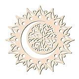 GLOBLELAND 31 CM Luna Mandala Flor Arte de Pared de Madera Geometría Sagrada Decoración del Hogar Escultura de Pared de Madera Cortada con Láser para Decoración de Pared Arte Decoración del Hogar