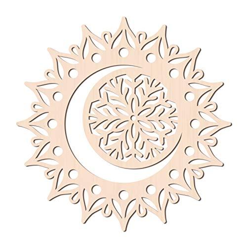 GLOBLELAND 31 CM Luna Mandala Flor Madera Arte de la Pared Decoración Corte Láser Escultura de Madera para Decoración de Pared Arte Decoración del Hogar