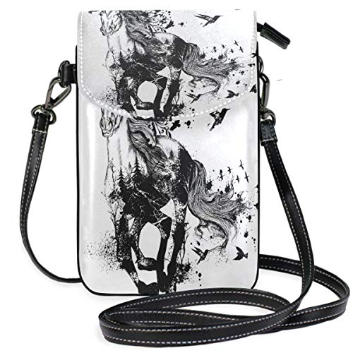 XCNGG Telefontasche Horse Bird Cell Phone Purse Wallet for Women Girl Small Crossbody Purse Bags