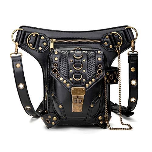 En stock Ebay Bolsa de cadena para mujer, bolsa pequeña Steampunk retro, bolsa de mensajero de hombro para mujer, bolsa de cintura para mujer