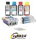 Kit de Recarga, Compatible para Cartuchos de Tinta Epson T2711-14 Negro y Color + Cartuchos Recargables y Accesorios + 400 ML Tinta DE SUBLIMACION