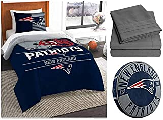 Northwest NFL New England Patriots Draft 6pc Twin Bedding Set - Includes Comforter, sham, Flat Sheet, Fitted Sheet, Pillowcase, and Cloud Pillow