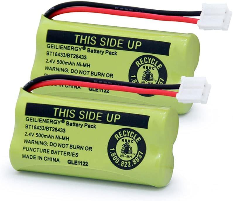 GEILIENERGY BT18433 BT28433 BT184342 BT284342 BT-1011 Battery Compatible for Cordless Phone CS6209 CS6219 CS6229 DS6151 CL80100 CL80109 DCX400 Handset (Pack of 2)