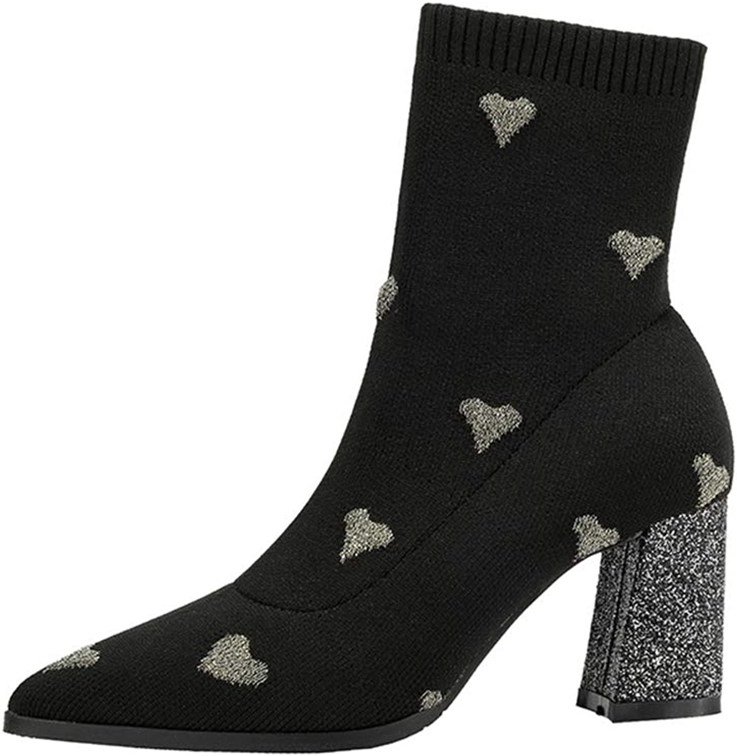 Renly Womens Elastic Cotton Sexy Ankle Boots