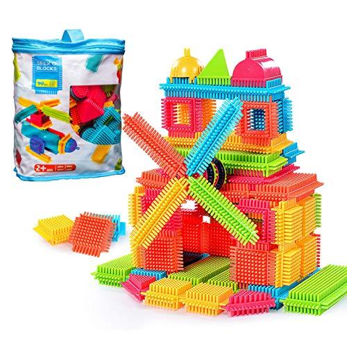 GODR7OY Creativity Building Toys Dexterity Fine Motricity, Big Bristle Shape 3D Building Blocks Tiles Construction Toy Set with Bag for Boys Girls 3 Years +