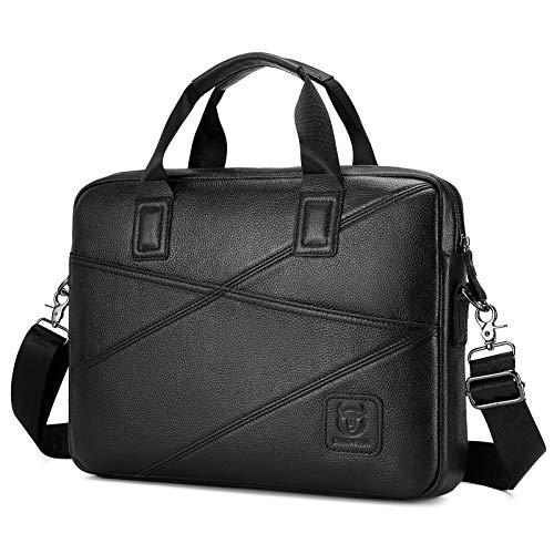 BAIGIO Aktentasche Leder Herren Businesss Umhängetasche Laptop Tasche für 14 zoll Laptop (Schwarz)