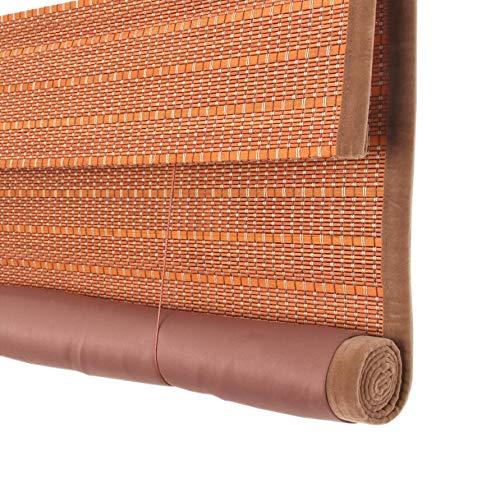 Jiayuan rolgordijn, bamboevoering, bril, gordijn, rolluiken, gordijn voor kantoor, balkon, decoratie, lounge, Romeinse W 85*H 100cm Dark Orange
