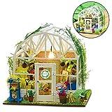 DIY Puppenhaus Holz Miniatur Möbel Kit Mini Green House Handmade House mit Zubehör Lernspielzeug...