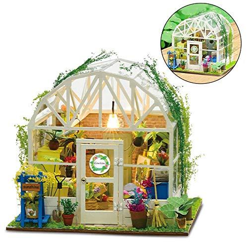DIY Puppenhaus Holz Miniatur Möbel Kit Mini Green House Handmade House mit Zubehör Lernspielzeug für Mädchen