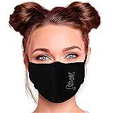 Alsino Mundschutz Waschbar Damen Schwarz Strass Baumwolle Alltagsmaske Mundschutzmaske Stoffmaske mit Glitzersteinchen verstellbar Herren Verschiedene Motive (Katze)