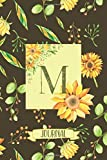 M Journal: Sunflowers Notebook Monogram Initial M Blank Lined Journal | Decorated Interior