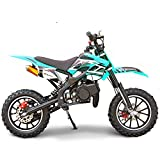 SYX MOTO Kids Dirt Bike Holeshot 50cc Gas Power Mini Dirt Bike Pit Bike Fully Automatic Transmission (Teal, Year 2021)