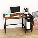 JOISCOPE Computer Desk for Home Office,Laptop Desk with Metal Drawer,Industrial Study Writing Table with Storage Shelves,Simple Table with Splice Board,47 inches (Vintage Oak Finish)…