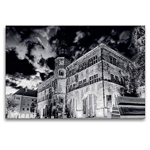 CALVENDO Premium Textil-Leinwand 120 x 80 cm Quer-Format Historisches Rathaus in der Nacht, Leinwanddruck von Markus W. Lambrecht
