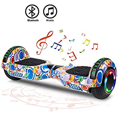 "FLYING-ANT Hoverboard Self Balancing Scooters 6.5"" Flash Two-Wheel Self Balancing Hoverboard with Bluetooth Speaker and LED Lights for Kids and Adults Gift(Colorful)"
