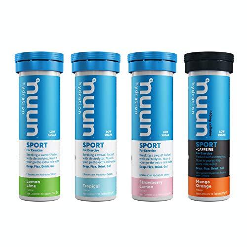 Nuun Sport Hydration Drink Tablets : 4 Tube Pack : Fruit & Caffeine Mix : Lemon & Lime, Tropical Fruit, Strawberry Lemonade, Mango & Orange (caffeine)
