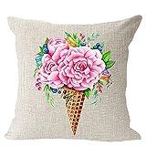 LIPOR Funda de Almohada Cuadrada de Lino y algodón con diseño...