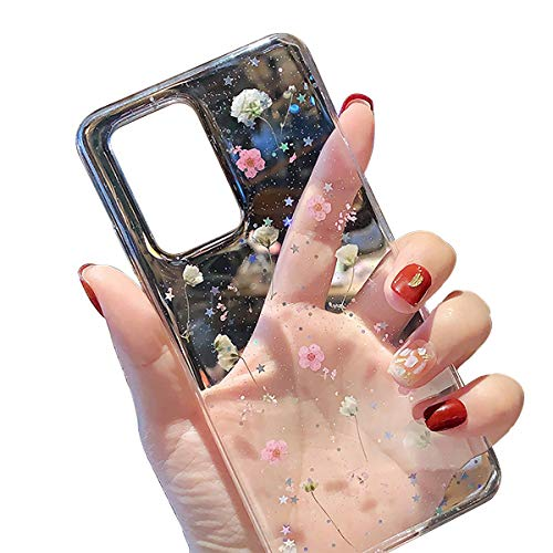 FundX Hülle für Samsung Galaxy A52 5G/4G-Echte Getrocknete Blumen Silikon Handyhülle Mädchen Crystal Klare Transparente Hülle -Rosa