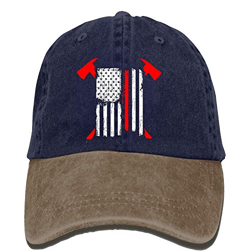 Babydo afstelbare baseball-muts-caps unisex/mannen/vrouwen - brandweerman rode lijn Amerikaanse vlag met gekruiste bijlen