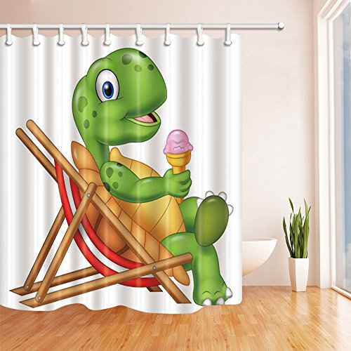 Fansu Duschvorhang Anti-Schimmel Wasserdicht Antibakteriell Tiere 3D Drucken, Polyester Transparent Karikatur Vorhang für Badzimmer Digitaldruck mit 12 Duschvorhangringe (180x200cm,Schildkröte)