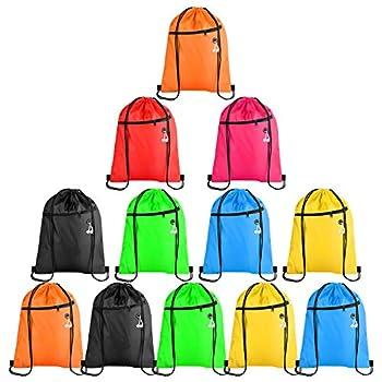 KUUQA 12Pcs Drawstring Bags with Zipper Pocket Pull String Backpack Bags Bulk
