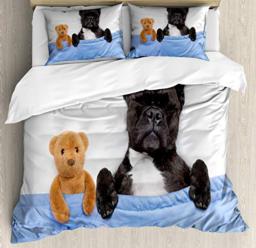 Ambesonne Animal Duvet Cover Set, French Bulldog Puppy and Teddy Bear Toy Sleeping in a Cozy Bed Best Friend Fun Dreams Image, Decorative 3 Piece Bedding Set with 2 Pillow Shams, King Size, Blue White