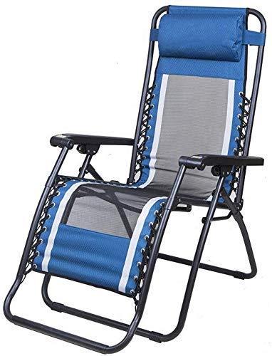 Sillones reclinables N/A Sillones reclinables, tumbona para exteriores, suave y fácil de usar, almohada para cojín de cabeza ajustable extraíble multiposición (color azul almohadilla de algodón), azul