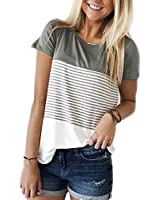 Women's Tops and Blouses Summer Casual T Shirts Short Sleeve Grey S