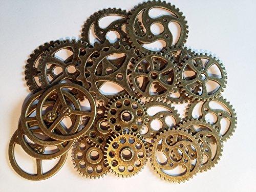 22x große Steampunk Zahnräder Bronze Gothic Charm