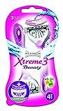 Wilkinson Sword Xtreme 3 Beauty - Maquinillas de Afeitar Desechables Femeninas con 3 Hojas Flexibles y Banda Lubricante de Aloe Vera y Vitamina E, Pack 4 Unidades