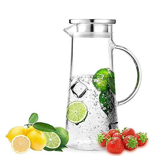 1.45L Glass Water Pitcher Ice Cold Juice Carafe with Stainless Steel Lid and Infuser Borosilicate Glass Jug Kettle for Red Wine Wine Juice Milk Ice Cold Water H