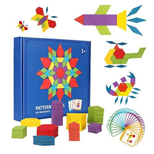 BAQSOO 155 PCS Holzmusterblöcke, geometrische Blöcke Puzzles, Bunte Holzbausteine Math Tangram Puzzle, Montessori Lernspielzeug für Kinder, Form Farbe erkennen