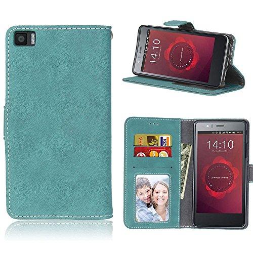 pinlu® Funda para BQ Aquaris M5 Función de Plegado Flip Wallet Case Cover Carcasa Piel Retro Scrub PU Billetera Soporte con Ranuras Pequeño Azul