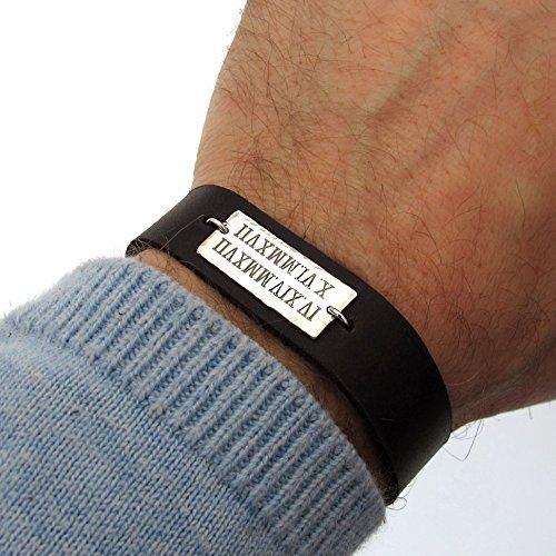 Personalized Leather Roman Numeral Bracelet for Men