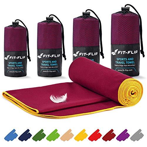 Toalla de microfibra – 16 colores, muchos tamaños – compacta, ultraligera y de secado rápido – microfibra toalla – toalla de viaje y toalla microfibra gimnasio (100x200cm borgoña - borde amarillo)