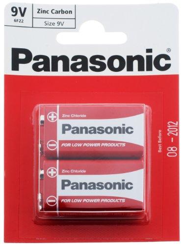 Panasonic Batterien, Zink-Kohle, PP3 (MN1604/6LR61/6F22), 9 V, 2 Stück