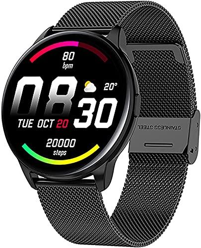 QIXIAOCYB Reloj inteligente señora reloj inteligente rastreador de actividad podómetro con presión arterial/oxígeno en la sangre/monitor de ritmo cardíaco adecuado para iOS Android Smart Watch, H,