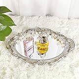 Yamfurga Oval Decorative Mirror Tray, French Style, Makeup Organizer, Jewelry Organizer, Serving Tray, 9.8