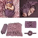 4 Pcs Newborn Photography Props Outfits- Baby Long Ripple Wrap and Toddler Swaddle Blankets Photography Mat with Cute Headbands for Infant Boys Girls