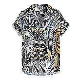 N\P Camisa hawaiana de los hombres sueltos de manga corta botones casuales
