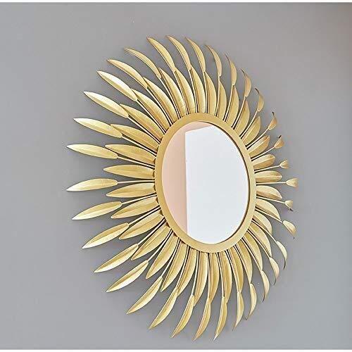 JKUNYU Pluma del Espejo, Pared del hogar del Espejo colgado, Ronda de Metal Gafas de Sol de Espejo de Pared Espejo de Pared