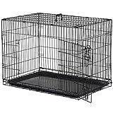 Pawhut Cage Caisse de Transport Pliante pour Chien en métal Noir...