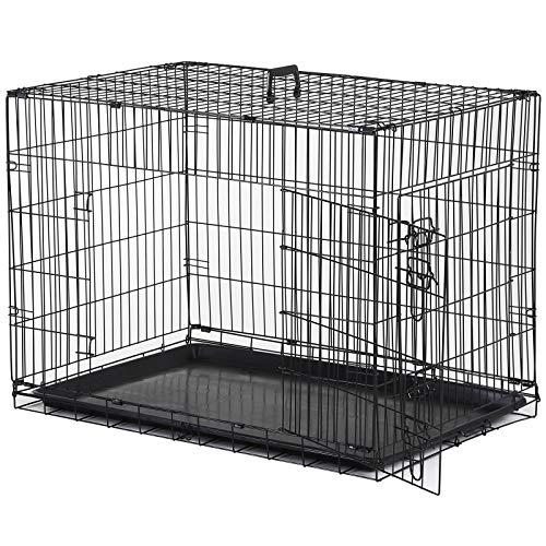 Pawhut Cage Caisse de Transport Pliante pour Chien en métal Noir 91 x 61 x 67 cm