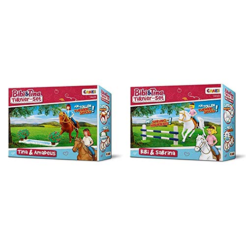 CRAZE BIBI & Tina Turnier-Set Spielfiguren Pferdefiguren Tina und Amadeus & BIBI & Tina Turnierset mit Reiterin Pferd Bibi und Sabrina inkl. Reitzubehör Spielfiguren zum Sammeln 14165
