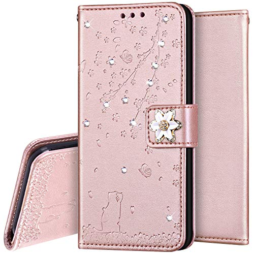 Surakey Coque Samsung Galaxy A8 2018,Protection Housse Etui à Rabat en Cuir PU Portefeuille Livre,Chat Sakura Paillette Strass Brillante Bling Glitter Flip Case Cover Fermeture Magnétique, Or Rose