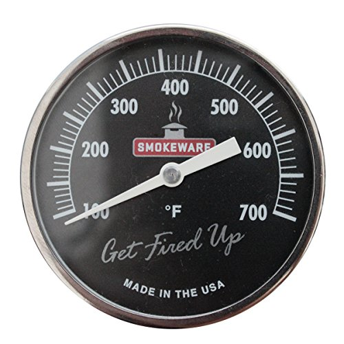 SmokeWare Temperature Gauge – 3-inch Face, 0-700°F Range, Black, Replacement Thermometer for Big Green Egg Grills, Made in The USA