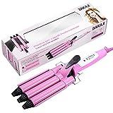 Bakaji - Plancha para el pelo ondulado con 3 ramas, tubos de cerámica, potencia 40 W, rosa