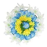 LOVIVER Couronne De Fleurs Funéraire en Soie Artificielle Chrysanthemum Funeral - A